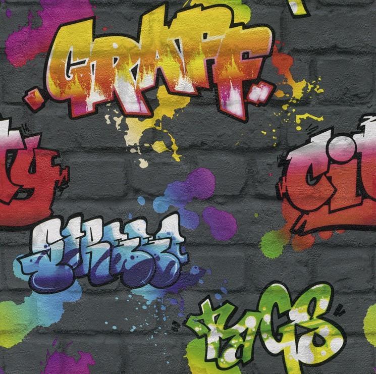 Rasch Urban Graffiti Wallpaper in Multi-Shades - 237801